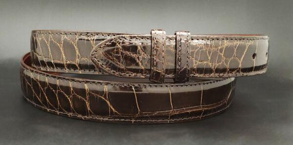 Alligator Belt Strap, Glossy Chocolate