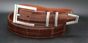 "1-1/4"" Monterrey on a cognac alligator belt"