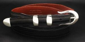 "3/4"" PIMA on black alligator belt"