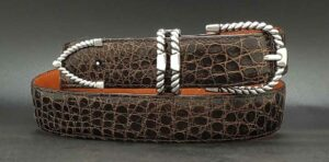 "1-1/4"" Rope on a Chocolate Alligator belt"