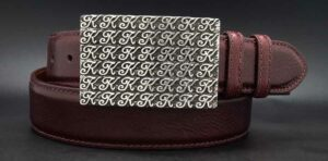 "1-1/2"" Signature K on a burgundy calf belt"