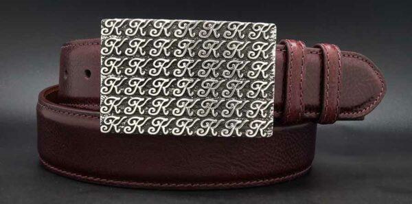 """1-1/2"""" Signature K on a burgundy calf belt"""
