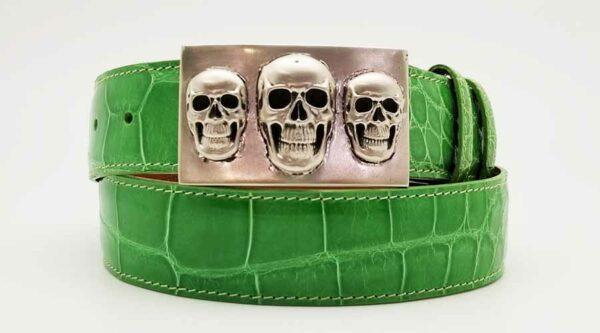 Triple Skull on Lime Green Alligator Belt