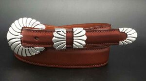 columbine on cognac calf belt