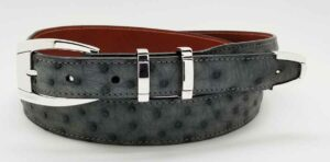 "1"" HAMPTON buckle on grey ostrich belt"