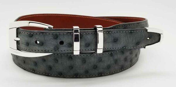 "1"" HAMPTON buckle on grey ostrich belt"