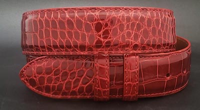 Red Glossy Alligator belt