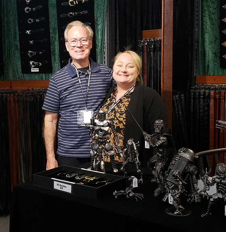 Paul and Lisa Scibienski, owners of Kalifano Belts and Buckles
