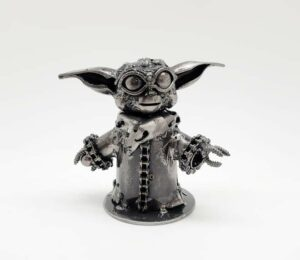 Baby Yoda inspired recycled metal art