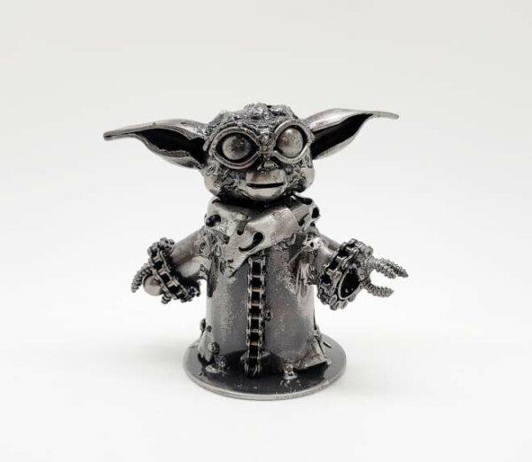 Baby Yoda inspired recycled metal art