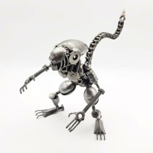 Alien inspired (crouching) Recycled Metal Sculpture