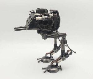 AT-ST inspired recycled metal sculpture, Star Wars