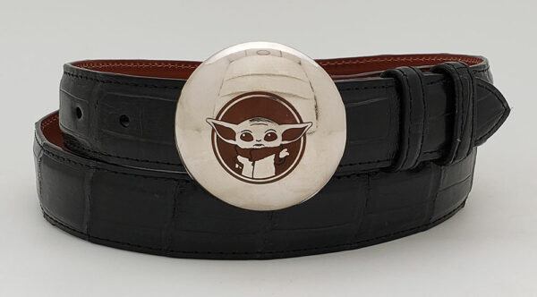 Baby Yoda inspired engraved buckle