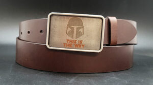 Mandalorian inspired engraved metal buckle