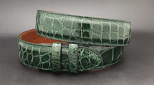 Custom green alligator belt