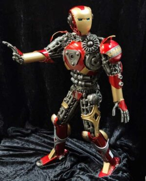 Iron Man recycled metal sculpture, Large, painted