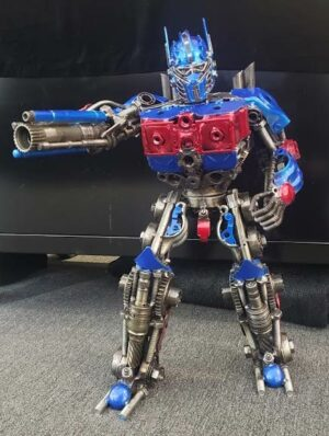 Optimus Prime inspired metal sculpture, large