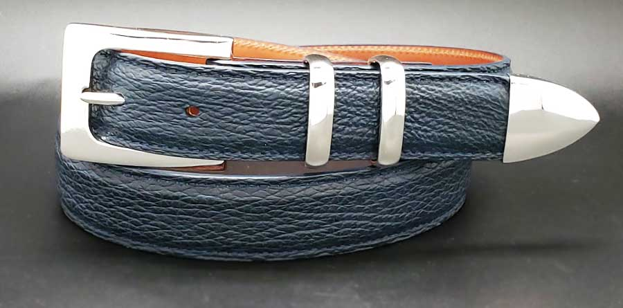 The Broker on a navy SHARK belt (custom)